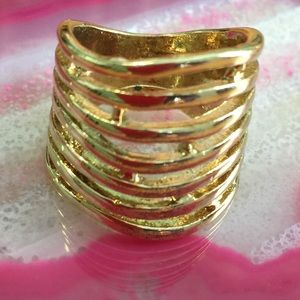 Jewelry - Chunky Gold Metal Abstract Cage Ring - 7